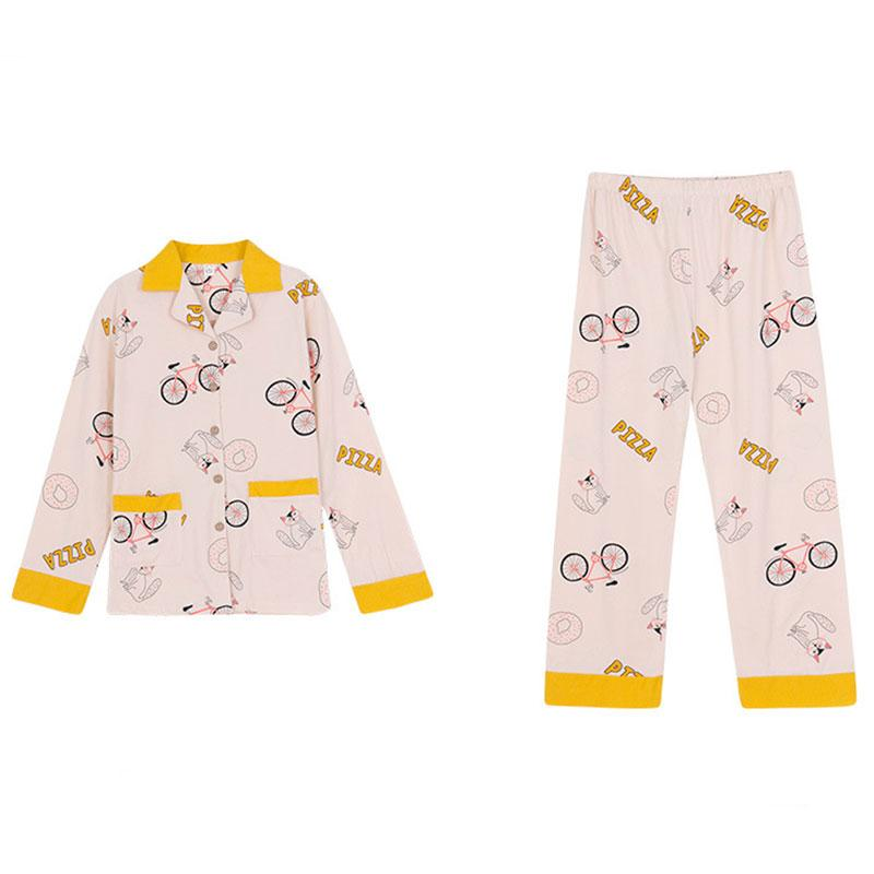 Modakawa Pajamas Bicycle PIZZA Letter Print Pajama Set Seven-piece Shirt Eye Mask