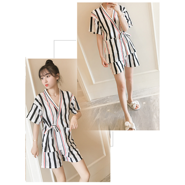 Modakawa Pajamas Black Stripe / M Kawaii Strappy Two Piece Summer Pajama Set