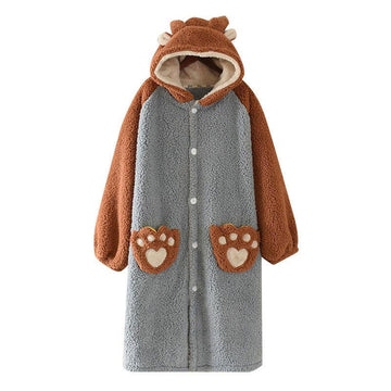 Modakawa Pajamas Blue & Brown / M Cute Ears Bear Paws Open Front Plush Hooded Pajama