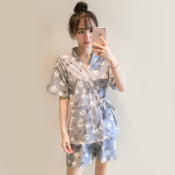 Modakawa Pajamas Blue & Flowers / M Kawaii Strappy Two Piece Summer Pajama Set