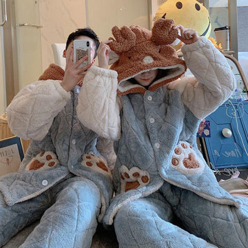 Modakawa Pajamas Blue / M Boyfriend Girlfriend Bear Paws Deer Open Front Plush Hooded Pajama Set