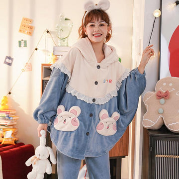 Modakawa Pajamas Blue / M Bunny Ears Cloak Hooded Plush Pajamas Set