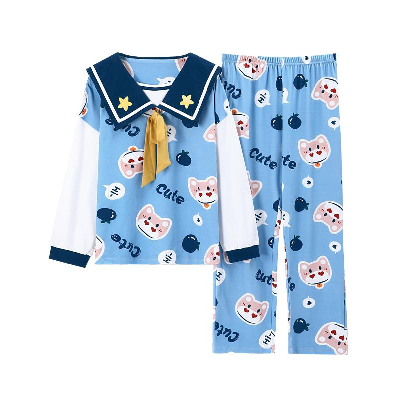 Modakawa Pajamas Blue / M Sweet Cartoon Bow Knot Collar Two Piece Pajama Set