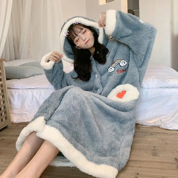 Modakawa Pajamas Blue / One Size Love Heart Rainbow Open-Front Hooded Pajama Dress