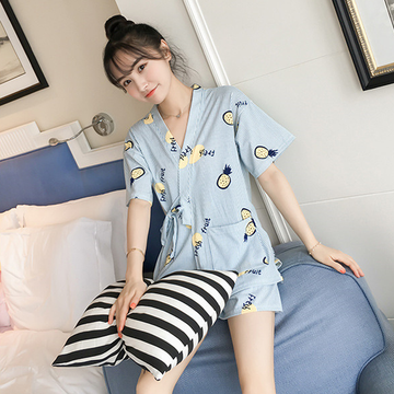 Modakawa Pajamas Blue & Pineapple / M Kawaii Strappy Two Piece Summer Pajama Set