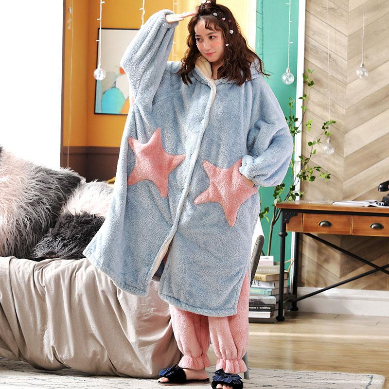 Modakawa Pajamas Blue & Pink / M Boyfriend Girlfriend Star Open Front Plush Hooded Pajama Set