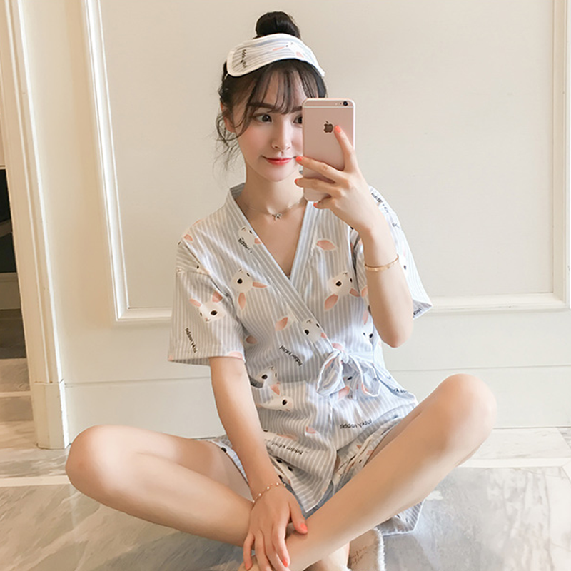 Modakawa Pajamas Blue & Rabbit / M Kawaii Strappy Two Piece Summer Pajama Set