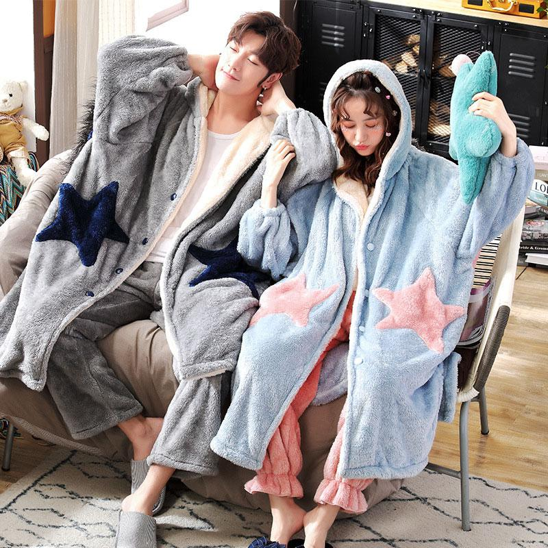 Modakawa Pajamas Boyfriend Girlfriend Star Open Front Plush Hooded Pajama Set