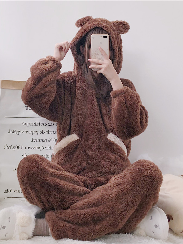 Modakawa Pajamas Brown Women Bear Plush Hooded Pajama Set