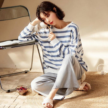 Modakawa Pajamas Casual Stripe Two Piece Pajama Set