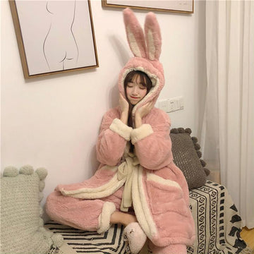 Modakawa Pajamas Cute Bunny Ears Open Front Plush Hooded Pajama Set