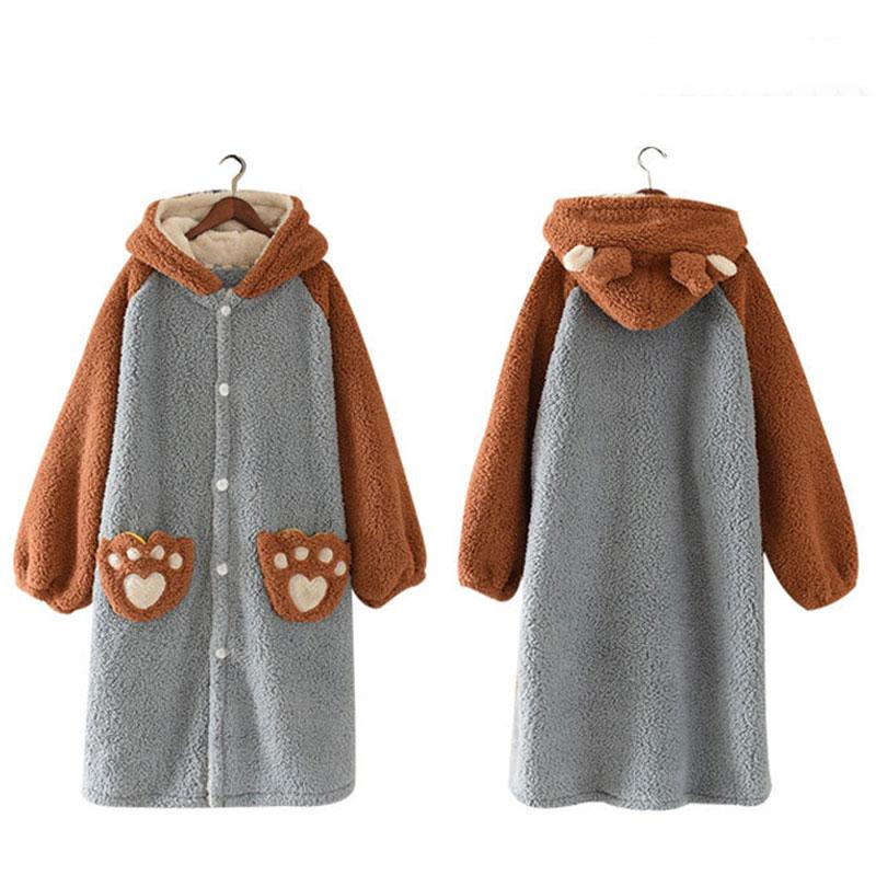 Modakawa Pajamas Cute Ears Bear Paws Open Front Plush Hooded Pajama