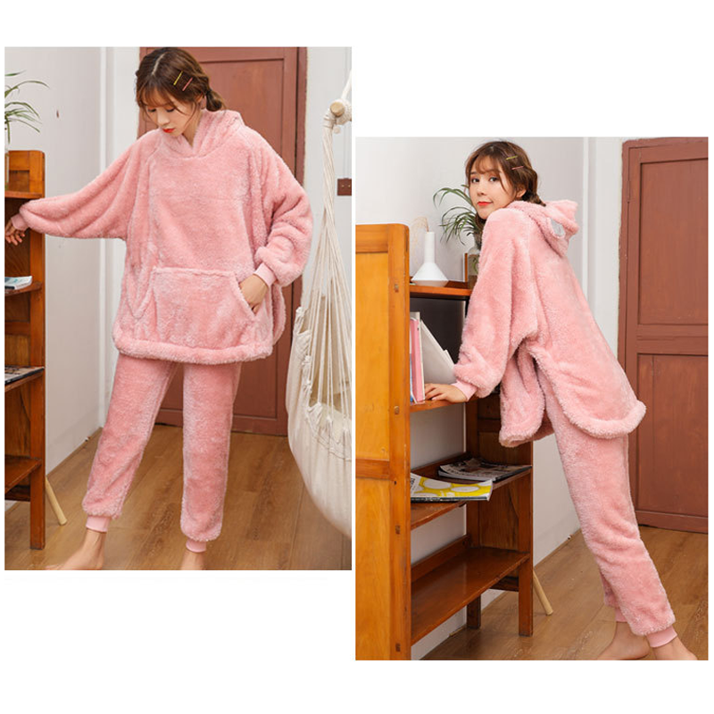 Modakawa Pajamas Cute Ears Plush Pajamas Set
