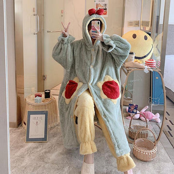 Modakawa Pajamas Cute Ears Sunflower Open Front Plush Hooded Pajama Set