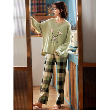 Modakawa Pajamas Cute Pig Print Two Piece Pajama Set