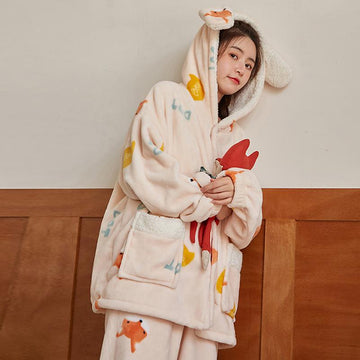 Modakawa Pajamas Fox / M Boyfriend Girlfriend Ears Fox Hooded Plush Pajamas Set