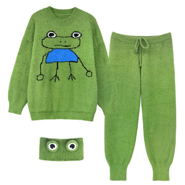 Modakawa Pajamas Frog Knitted Pajamas Set with Headband