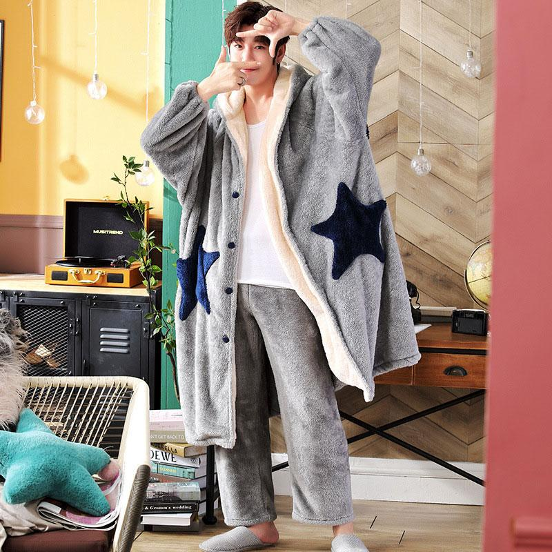 Modakawa Pajamas Gray / L Boyfriend Girlfriend Star Open Front Plush Hooded Pajama Set
