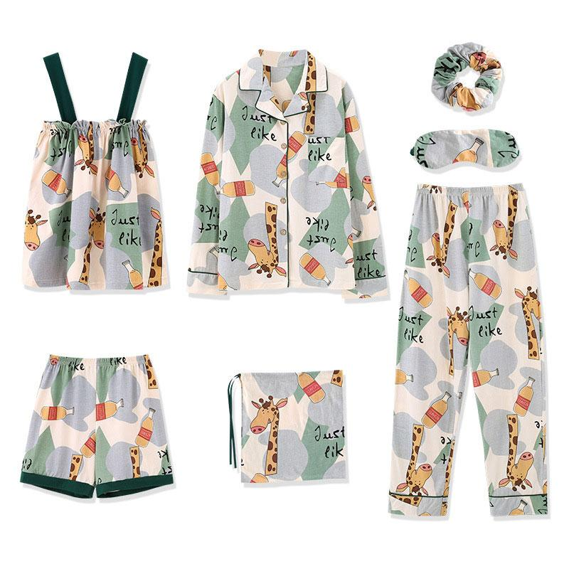 Modakawa Pajamas Green / M Cartoon Giraffe JUST LIKE Letter Print Pajama Set Seven-piece