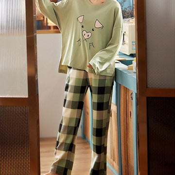 Modakawa Pajamas Green / M Cute Pig Print Two Piece Pajama Set
