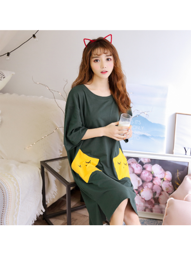 Modakawa Pajamas Green / M Cute Star Print Pajama Dress