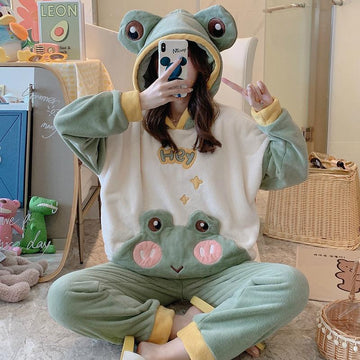 Modakawa Pajamas Green / M Frog Eyes Ears Hooded Pajamas Two-piece Set