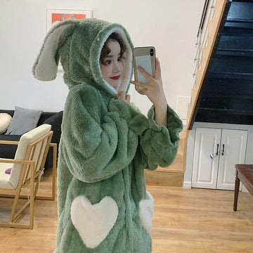 Modakawa Pajamas Green / One Size Bunny Ears Love Heart Pocket Plush Hooded Pajama Set