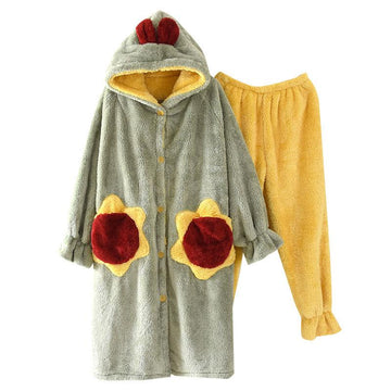 Modakawa Pajamas Green & Yellow / M Cute Ears Sunflower Open Front Plush Hooded Pajama Set