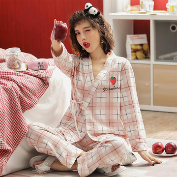 Modakawa Pajamas Japanese Strawberry Bear Print Plaid Lace Up Pajama Set