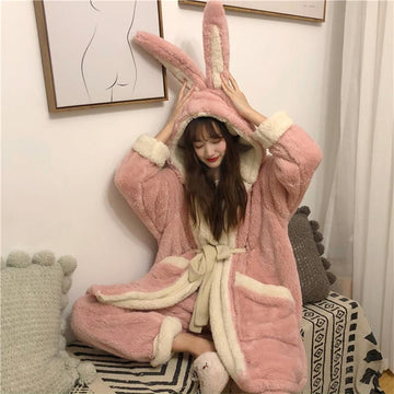 Modakawa Pajamas Pink Ears / One Size Cute Bunny Ears Open Front Plush Hooded Pajama Set