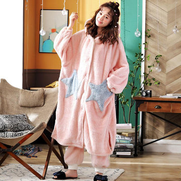 Modakawa Pajamas Pink / M Boyfriend Girlfriend Star Open Front Plush Hooded Pajama Set