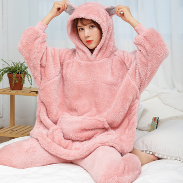 Modakawa Pajamas Pink / M Cute Ears Plush Pajamas Set