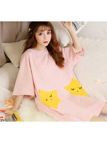 Modakawa Pajamas Pink / M Cute Star Print Pajama Dress