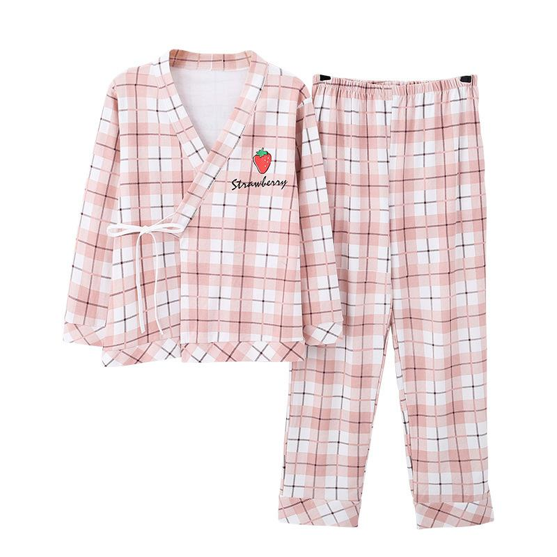 Modakawa Pajamas Pink / M Japanese Strawberry Bear Print Plaid Lace Up Pajama Set