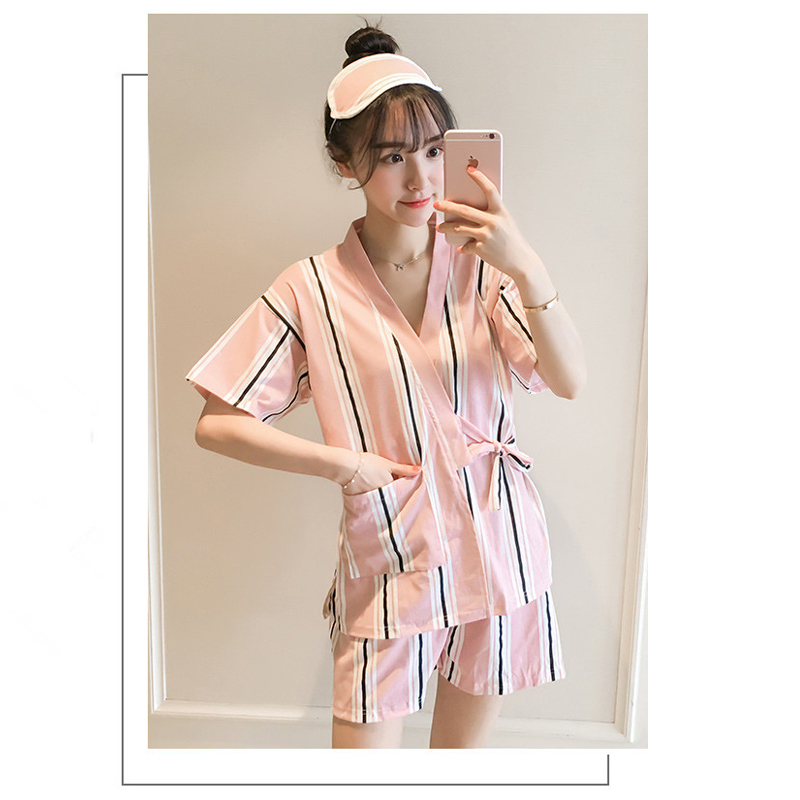 Modakawa Pajamas Pink Stripe / M Kawaii Strappy Two Piece Summer Pajama Set
