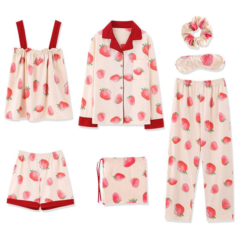Modakawa Pajamas Red / M Sweet Strawberry Pajama Set Shirt Eye Mask Sleeveless Seven-piece
