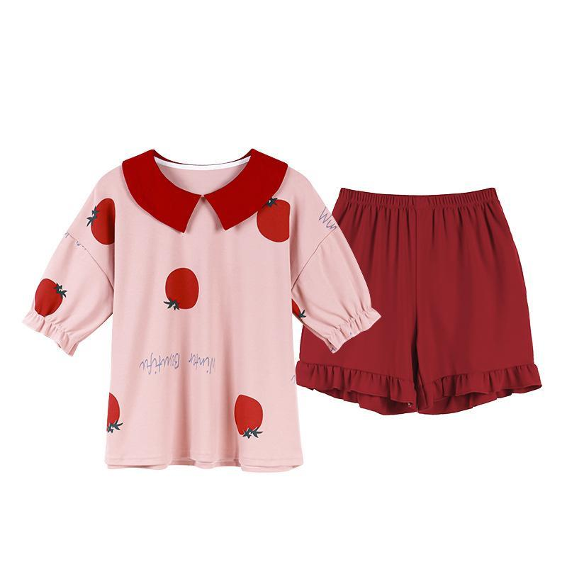 Modakawa Pajamas Red / M Sweet Tomato Letter Ruffle Doll Collar Pajama Set