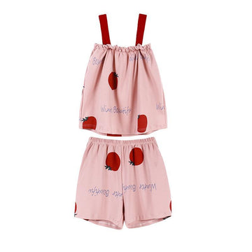 Modakawa Pajamas Red / M Sweet Tomato Letter Ruffle Sleeveless Pajama Set