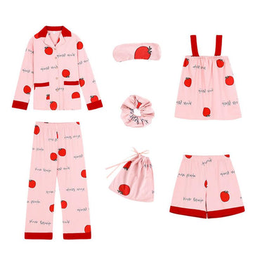 Modakawa Pajamas Red / M Tomato Letter Print Pajama Set Seven-piece Shirt Eye Mask