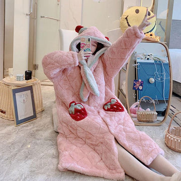 Modakawa Pajamas Strawberry Cute Ears Open Front Plush Hooded Pajama