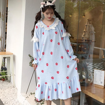Modakawa Pajamas Strawberry Lace Decorated Plush Night Dress