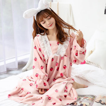 Modakawa Pajamas Strawberry / M Strawberry Ruffle Lace Plush Pajamas Dress