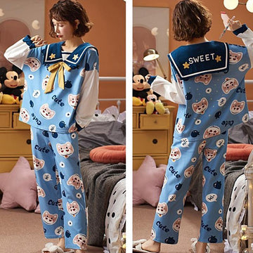 Modakawa Pajamas Sweet Cartoon Bow Knot Collar Two Piece Pajama Set