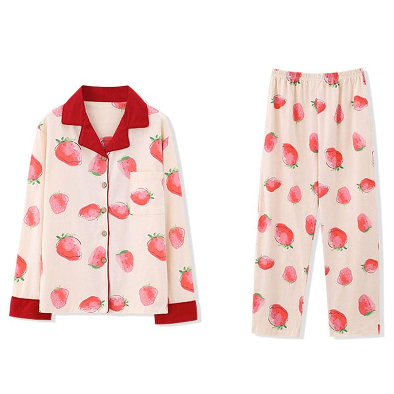 Modakawa Pajamas Sweet Strawberry Pajama Set Shirt Eye Mask Sleeveless Seven-piece