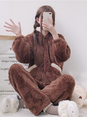 Modakawa Pajamas Women Bear Plush Hooded Pajama Set