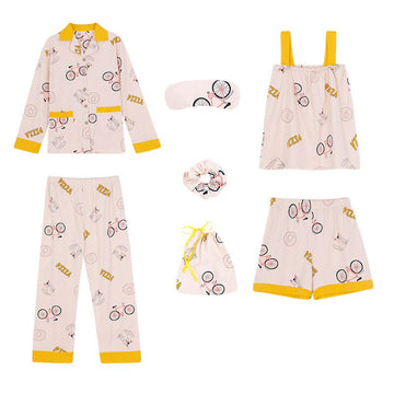 Modakawa Pajamas Yellow / M Bicycle PIZZA Letter Print Pajama Set Seven-piece Shirt Eye Mask