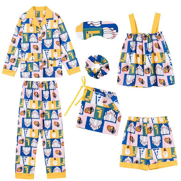 Modakawa Pajamas Yellow / M Plaid Bowling Bulb Love Heart Print Pajama Set Seven-piece