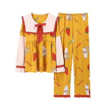 Modakawa Pajamas Yellow / M Sweet Cartoon Bow Knot Collar Two Piece Pajama Set