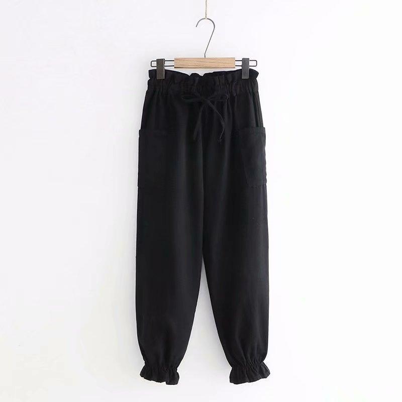 Modakawa Pants Black / M Lace Up Elastic Waist Lantern Pants