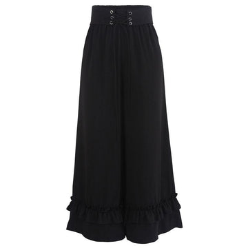 Modakawa Pants Black / S Lace Up Ruffle Wide Leg High Waist Pants